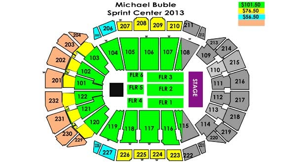 sprint center seating chart with rows and seat numbers: Michael buble sprint center