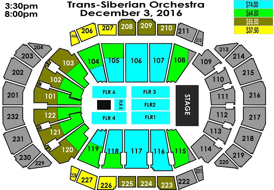 sprint center seating chart with rows and seat numbers: Trans siberian orchestra sprint center